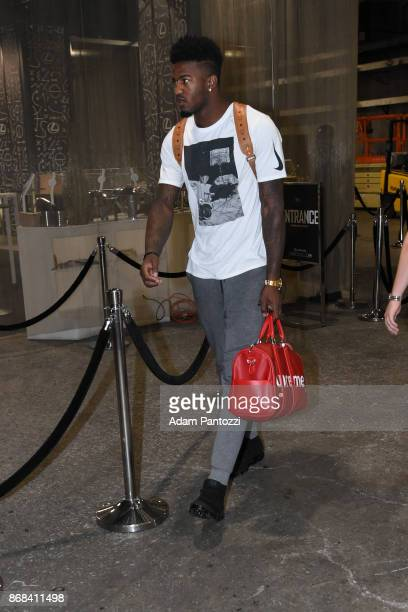 Jordan Bell of the Golden State Warriors arrives on October 30 2017 at STAPLES Center in Los Angeles California NOTE TO USER User expressly...