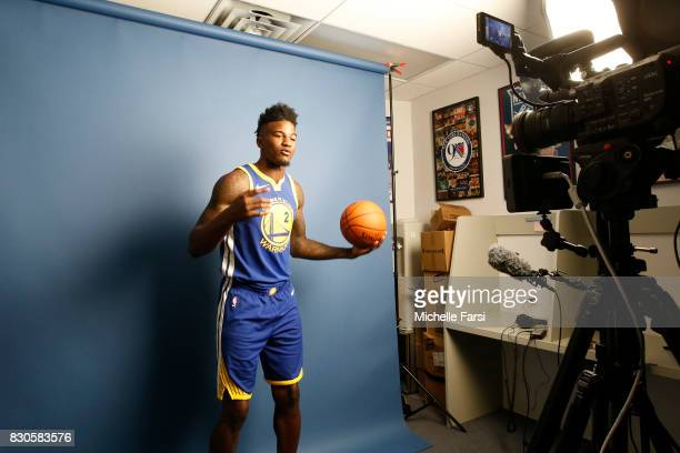 Jordan Bell of the Golden State Warriors behind the scenes during the 2017 NBA Rookie Photo Shoot at MSG training center on August 11 2017 in...