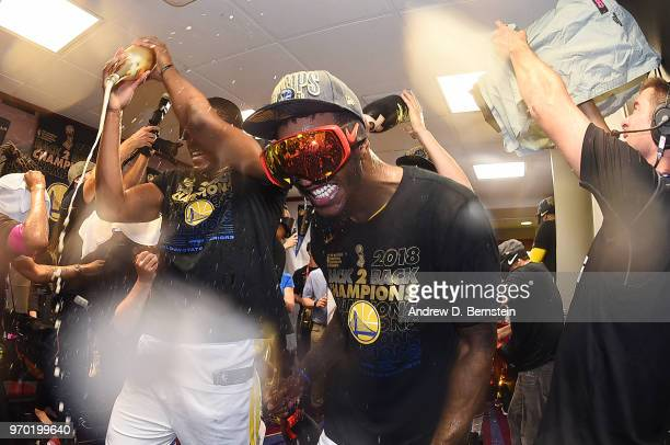Jordan Bell of the Golden State Warriors celebrates after Game Four of the 2018 NBA Finals against the Cleveland Cavaliers on June 8 2018 at Quicken...