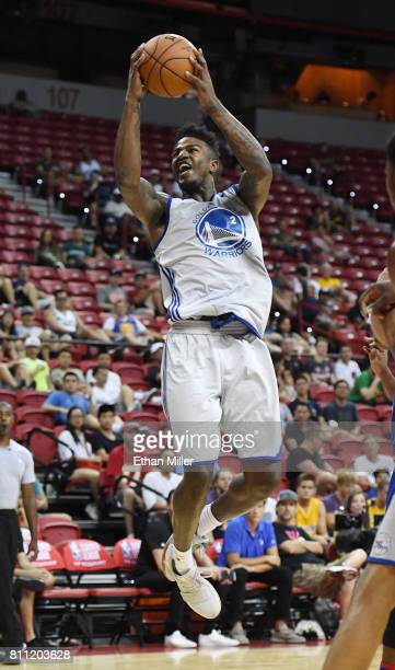 Jordan Bell of the Golden State Warriors drives to the basket against the Philadelphia 76ers during the 2017 Summer League at the Thomas Mack Center...