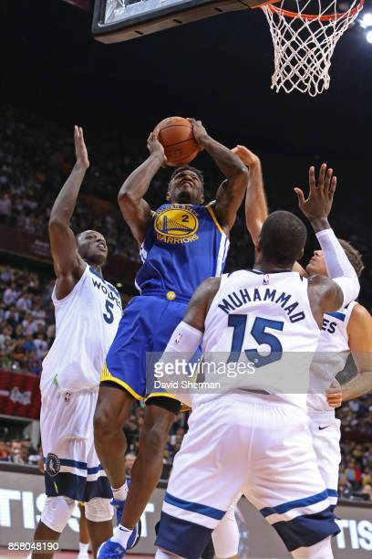Jordan Bell of the Golden State Warriors drives to the basket against the Minnesota Timberwolves as part of 2017 NBA Global Games China on October 5...