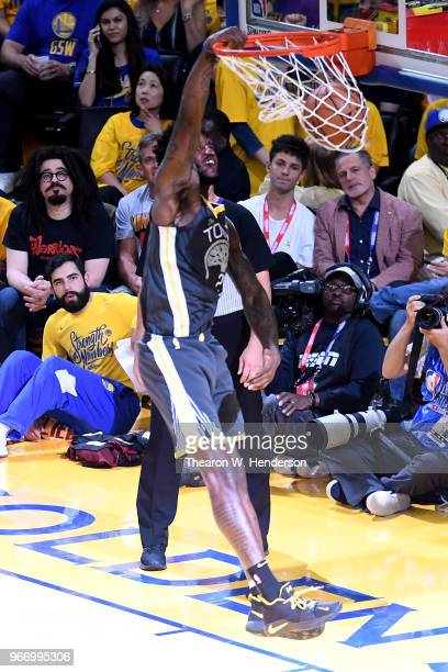 Jordan Bell of the Golden State Warriors dunks against the Cleveland Cavaliers in Game 2 of the 2018 NBA Finals at ORACLE Arena on June 3 2018 in...