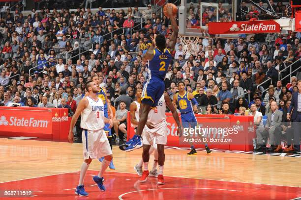 Jordan Bell of the Golden State Warriors dunks the ball against the LA Clippers on October 30 2017 at STAPLES Center in Los Angeles California NOTE...