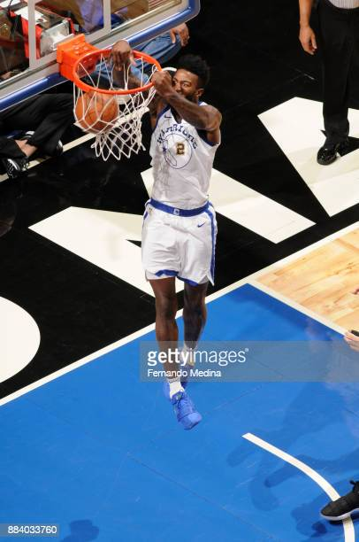Jordan Bell of the Golden State Warriors dunks the ball against the Orlando Magic on December 1 2017 at Amway Center in Orlando Florida NOTE TO USER...