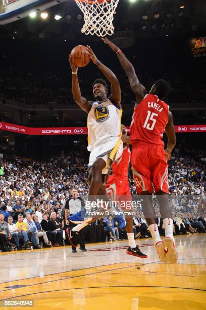Jordan Bell of the Golden State Warriors goes to the basket against the Houston Rockets on October 17 2017 at ORACLE Arena in Oakland California NOTE...