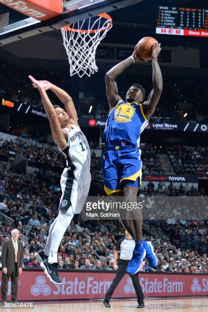 Jordan Bell of the Golden State Warriors goes to the basket against Bryn Forbes of the San Antonio Spurs on November 2 2017 at the ATT Center in San...
