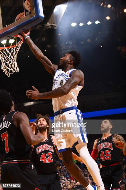 Jordan Bell of the Golden State Warriors goes to the basket against the Chicago Bulls on November 24 2017 at ORACLE Arena in Oakland California NOTE...