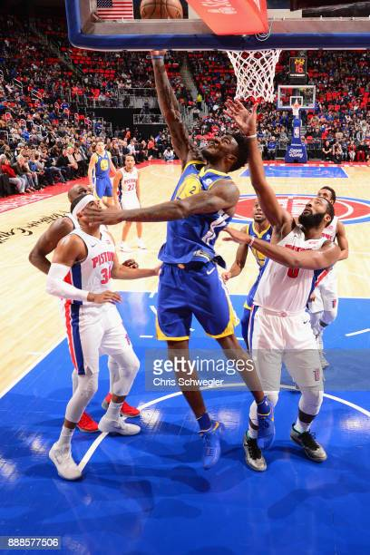 Jordan Bell of the Golden State Warriors goes to the basket against the Detroit Pistons on December 8 2017 at Little Caesars Arena in Detroit...