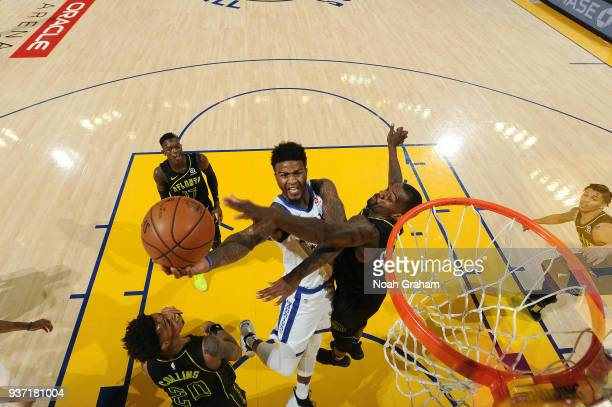 Jordan Bell of the Golden State Warriors goes to the basket against the Atlanta Hawks on March 23 2018 at ORACLE Arena in Oakland California NOTE TO...