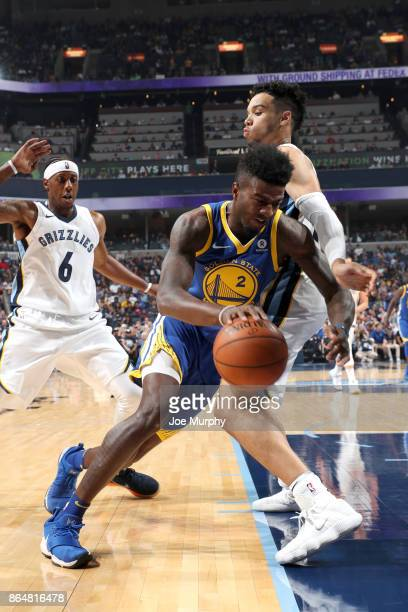 Jordan Bell of the Golden State Warriors handles the ball against the Memphis Grizzlies on October 21 2017 at FedExForum in Memphis Tennessee NOTE TO...