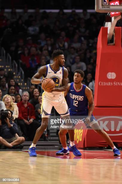 Jordan Bell of the Golden State Warriors handles the ball against the LA Clippers on January 6 2018 at STAPLES Center in Los Angeles California NOTE...