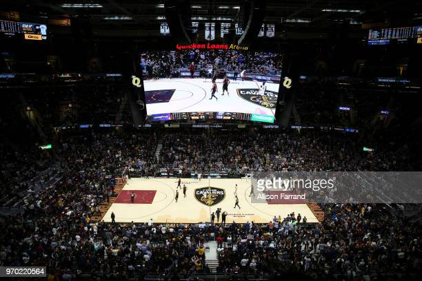 OH Jordan Bell of the Golden State Warriors holds ball for last seconds of Game Four of the 2018 NBA Finals on June 8 2018 at Quicken Loans Arena in...