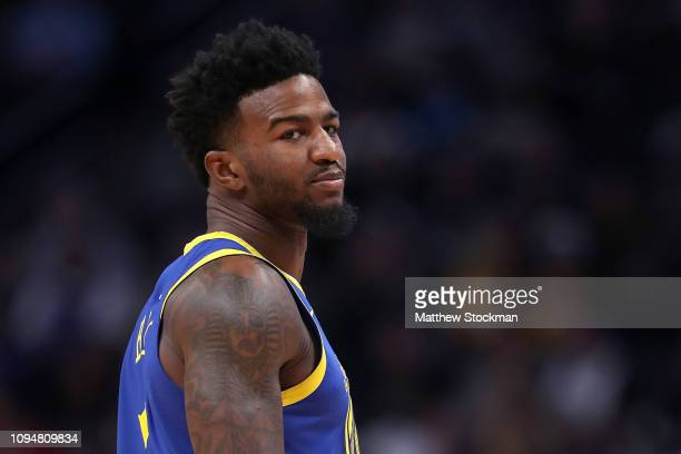 Jordan Bell of the Golden State Warriors plays the Denver Nuggets at the Pepsi Center on January 15 2019 in Denver Colorado NOTE TO USER User...