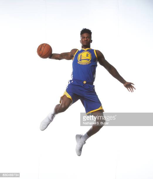 Jordan Bell of the Golden State Warriors poses for a photo during the 2017 NBA Rookie Shoot on August 11 2017 at the Madison Square Garden Training...