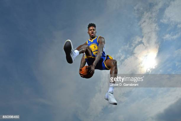 Jordan Bell of the Golden State Warriors poses for a portrait during the 2017 NBA rookie photo shoot on August 11 2017 at the Madison Square Garden...