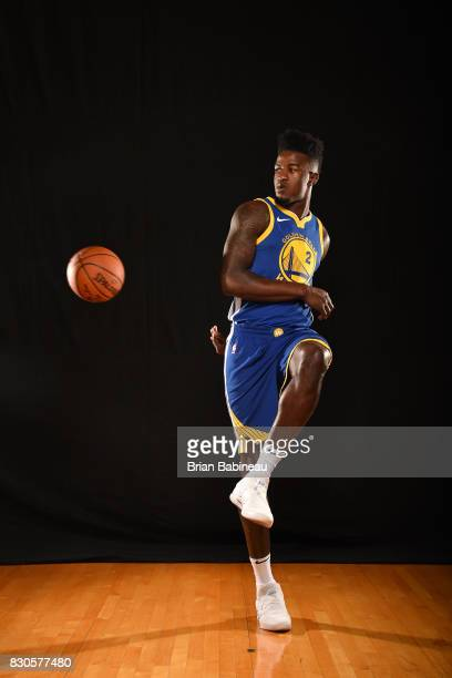 Jordan Bell of the Golden State Warriors poses for a portrait during the 2017 NBA Rookie Photo Shoot at MSG training center on August 11 2017 in...