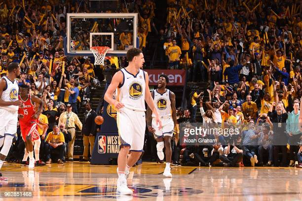 Jordan Bell of the Golden State Warriors reacts during game against the Houston Rockets during Game Six of the Western Conference Finals during the...