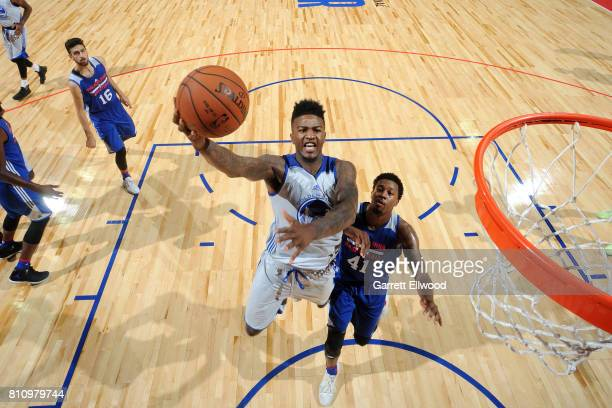 Jordan Bell of the Golden State Warriors shoots a lay up during the game against the Philadelphia 76ers during the 2017 Las Vegas Summer League on...