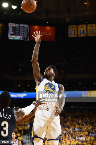 Jordan Bell of the Golden State Warriors shoots the ball against the New Orleans Pelicans during Game One of the Western Conference Semifinals of the...