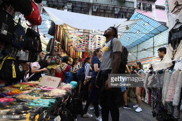 Jordan Bell of the Golden State Warriors takes in some sights around Hong Kong as part of the 2017 Global Games China on October 3 2017 in Hong Kong...
