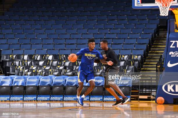 Jordan Bell of the Golden State Warriors warms up before the game against the Denver Nuggets during a preseason game on September 30 2017 at ORACLE...