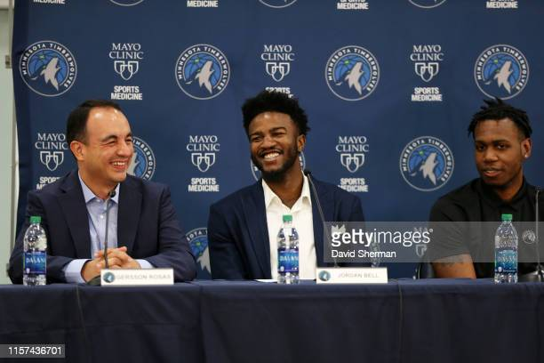 Jordan Bell of the Minnesota Timberwolves speaks during the introductory press conference on July 23 2019 at the Minnesota Timberwolves and Lynx...