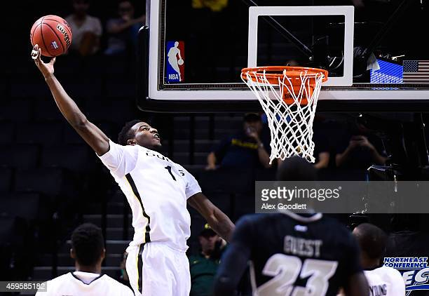 Jordan Bell of the Oregon Ducks attempts a dunk in the first half during a game against the Virginia Commonwealth Rams at the Barclays Center on...
