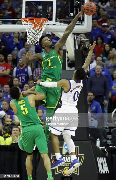 Jordan Bell of the Oregon Ducks blocks a shot by Frank Mason III of the Kansas Jayhawks in the first half during the 2017 NCAA Men's Basketball...