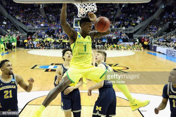 Jordan Bell of the Oregon Ducks dunks the ball in the first half against the Michigan Wolverines during the 2017 NCAA Men's Basketball Tournament...