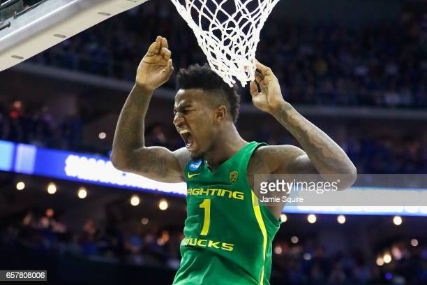 Jordan Bell of the Oregon Ducks dunks the ball in the second half against the Kansas Jayhawks during the 2017 NCAA Men's Basketball Tournament...