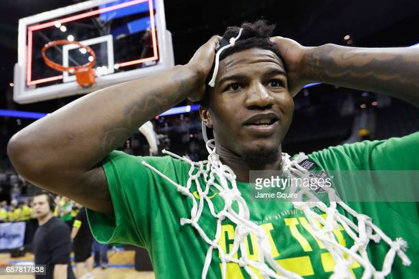 Jordan Bell of the Oregon Ducks reacts after defeating the Kansas Jayhawks 7460 during the 2017 NCAA Men's Basketball Tournament Midwest Regional at...