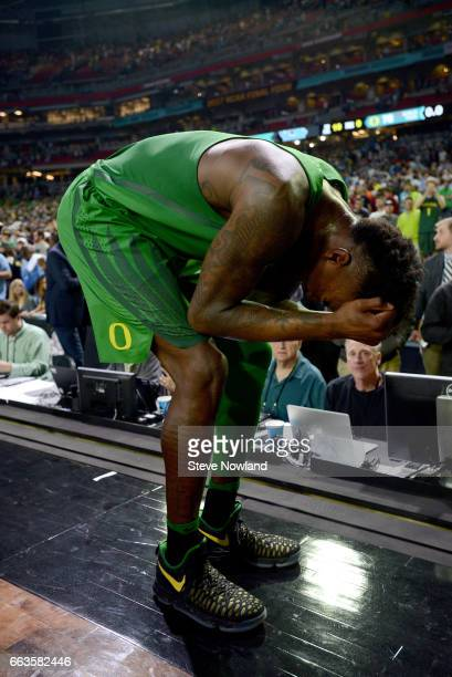 Jordan Bell of the Oregon Ducks reacts to the loss during the 2017 NCAA Photos via Getty Images Men's Final Four Semifinal against the North Carolina...