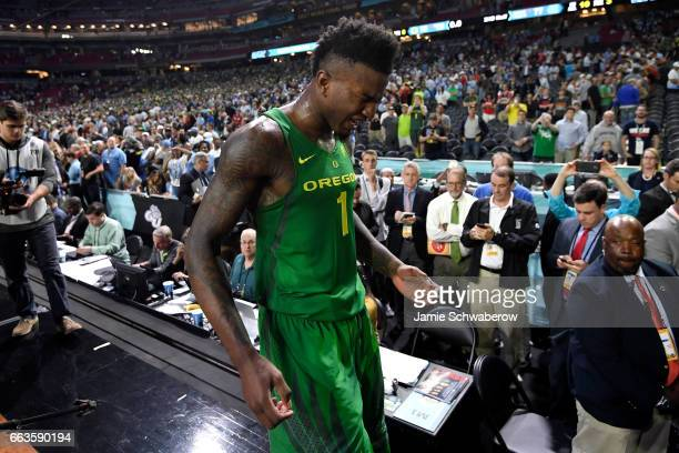 Jordan Bell of the Oregon Ducks reacts to the loss the 2017 NCAA Photos via Getty Images Men's Final Four Semifinal against the North Carolina Tar...