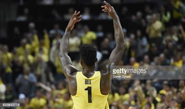 Jordan Bell of the Oregon Ducks tries to rally the crowd during the second half of the game against the Arizona Wildcats at Matthew Knight Arena on...