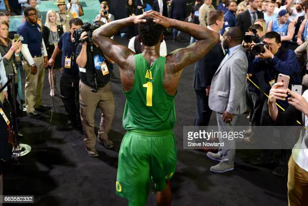 Jordan Bell of the Oregon Ducks walks back to the locker room after the game during the 2017 NCAA Photos via Getty Images Men's Final Four Semifinal...