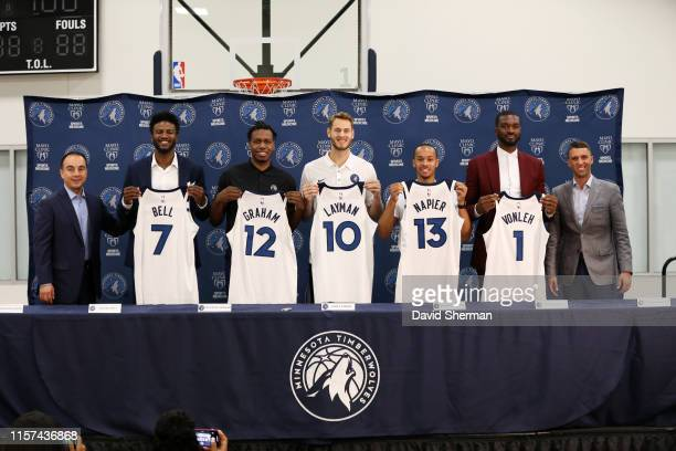 Jordan Bell Treveon Graham Jake Layman Shabazz Napier and Noah Vonleh of the Minnesota Timberwolves pose for a photo during the introductory press...
