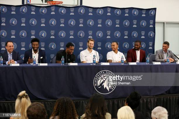 Jordan Bell Treveon Graham Jake Layman Shabazz Napier and Noah Vonleh of the Minnesota Timberwolves talk during the introductory press conference on...