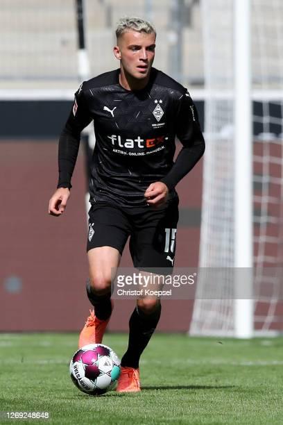 Jordan Beyer of Moenchengladbach runs with the ball during the pre-season friendly match between Borussia Monechengladbach and SpVGG Fuerth at...