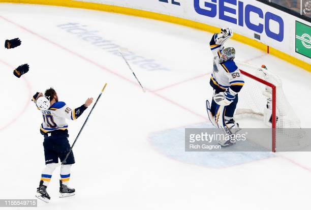 Jordan Binnington and Brayden Schenn of the St Louis Blues celebrate after defeating the Boston Bruins in Game Seven to win the 2019 NHL Stanley Cup...