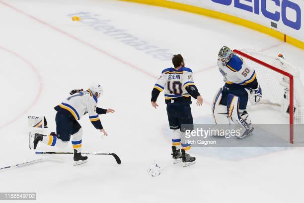 Jordan Binnington Brayden Schenn and Jaden Schwartz of the St Louis Blues celebrate after defeating the Boston Bruins in Game Seven to win the 2019...