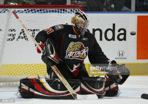 Jordan Binnington of the Owen Sound Attack watches an incoming shot in a game against the London Knights on November 6 2009 at the John Labatt Centre...