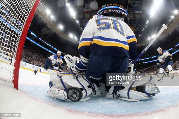 Jordan Binnington of the St Louis Blues allows a first period goal to Charlie Coyle of the Boston Bruins in Game Two of the 2019 NHL Stanley Cup...