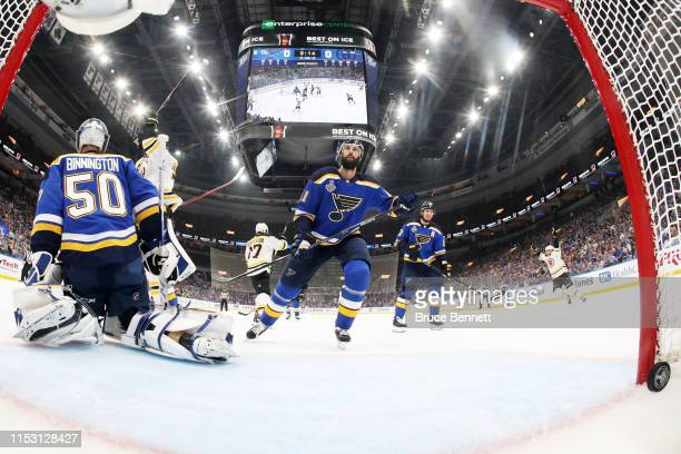 Jordan Binnington of the St Louis Blues allows a first period goal to Patrice Bergeron of the Boston Bruins in Game Three of the 2019 NHL Stanley Cup...