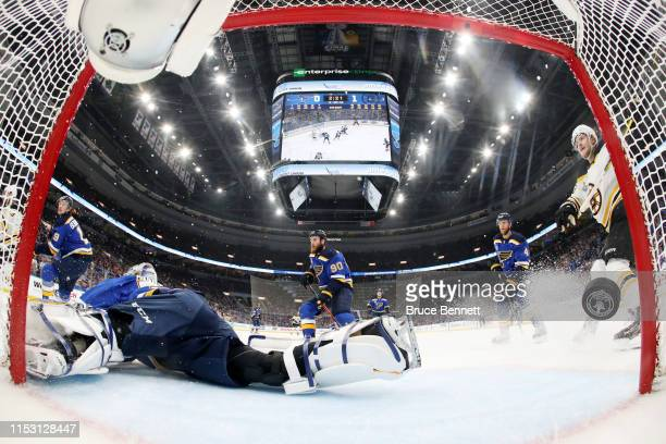 Jordan Binnington of the St Louis Blues allows a first period goal to Charlie Coyle of the Boston Bruins in Game Three of the 2019 NHL Stanley Cup...
