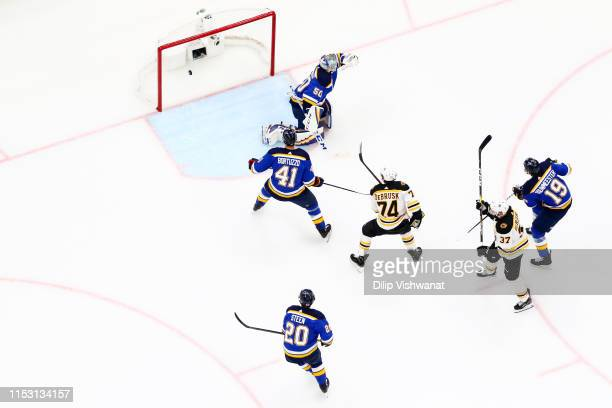 Jordan Binnington of the St. Louis Blues allows a first period goal to Patrice Bergeron of the Boston Bruins in Game Three of the 2019 NHL Stanley...