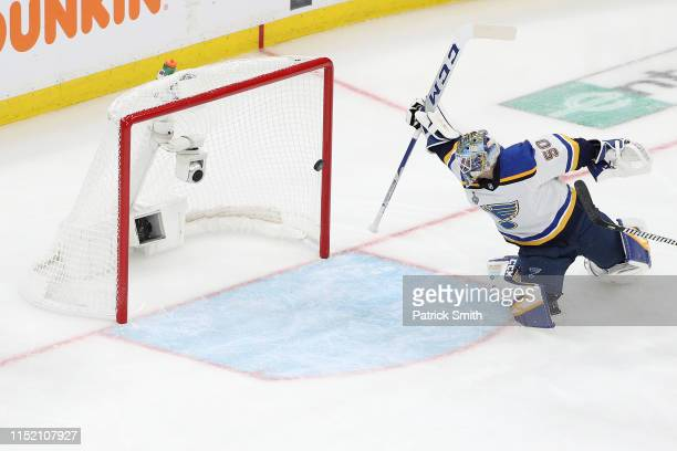 Jordan Binnington of the St Louis Blues allows a second period goal by Connor Clifton of the Boston Bruins in Game One of the 2019 NHL Stanley Cup...