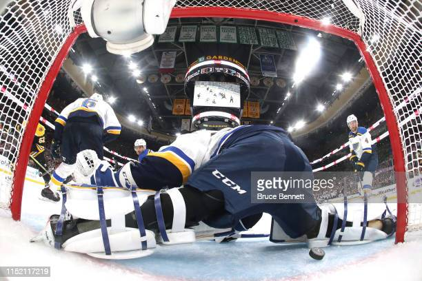 Jordan Binnington of the St. Louis Blues allows a third period goal to Sean Kuraly of the Boston Bruins in Game One of the 2019 NHL Stanley Cup Final...