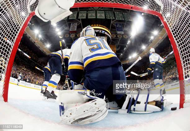 Jordan Binnington of the St Louis Blues allows a third period goal to Sean Kuraly of the Boston Bruins in Game One of the 2019 NHL Stanley Cup Final...