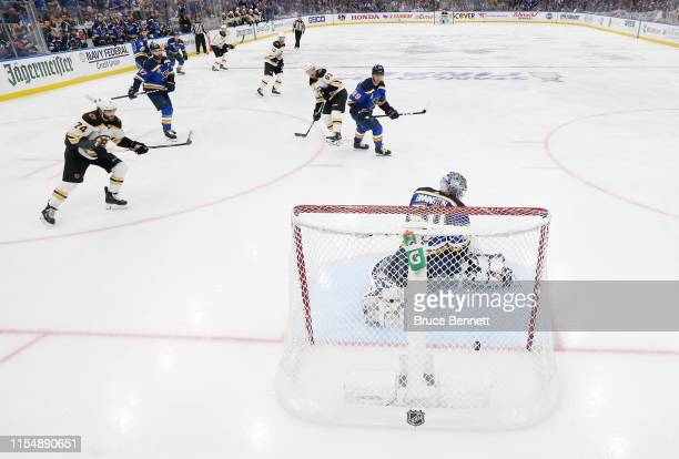 Jordan Binnington of the St. Louis Blues allows a third period goal to Brandon Carlo of the Boston Bruins in Game Six of the 2019 NHL Stanley Cup...