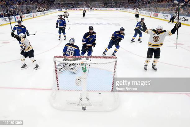 Jordan Binnington of the St Louis Blues allows a third period goal to Karson Kuhlman of the Boston Bruins in Game Six of the 2019 NHL Stanley Cup...